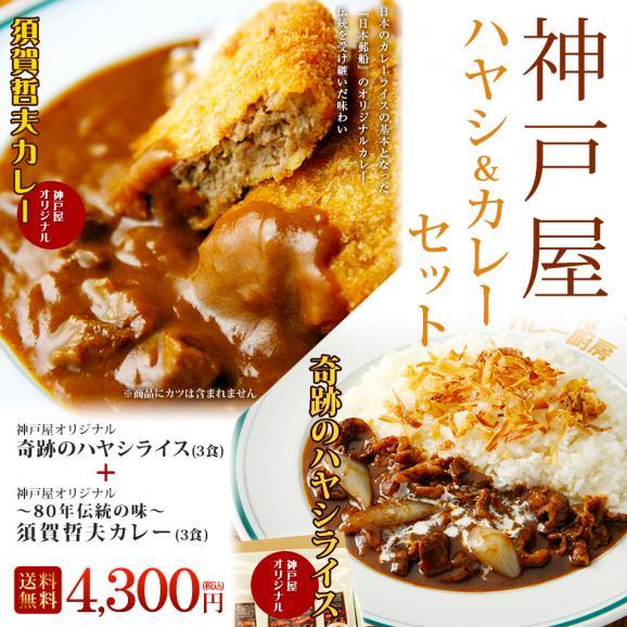 【送料無料】奇跡のハヤシライス(3食)+~80年伝統の味~ 須賀哲夫カレー(3食)セット01