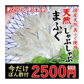 【国産の天然真フグのみ使用】<天然まふぐしゃぶしゃぶ用約120g×2>今だけ、ポン酢プレゼント!【冷凍便同梱可】