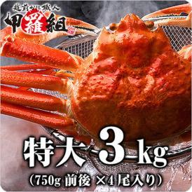 【特大】ボイルずわい蟹/姿3kg(750g前後×4尾入り)[送料無料]※こちらの商品は他の商品と同梱不可となっております【カニ】【かに】【蟹】あす着
