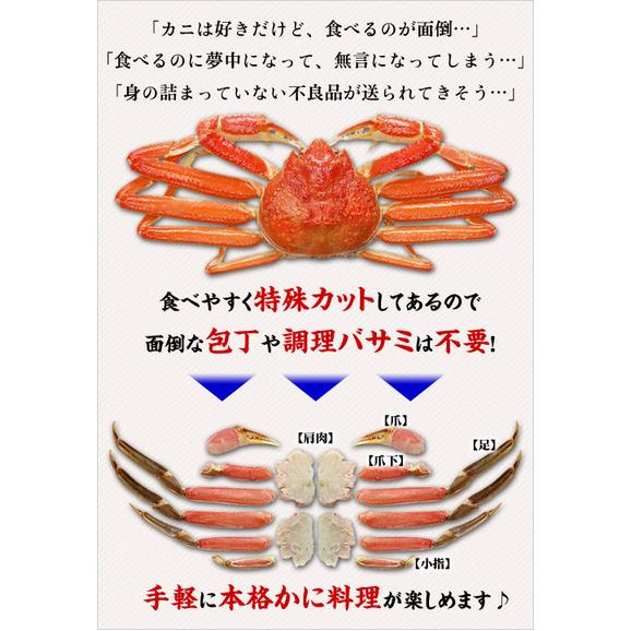 【生食OK】カット生ずわい蟹(レギュラー品/白箱)[送料無料]内容量750g/総重量1000g約3人前※たっぷり食べたい場合は2セット購入がお勧め!02