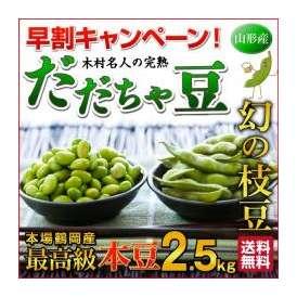★数量限定 幻の枝豆★送料無料【木村名人の完熟だだちゃ豆 本豆 2.5kg(500g×5袋)】
