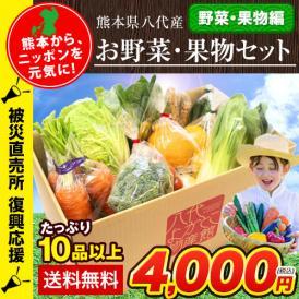 【被災直売所 復興応援】熊本県八代産 お野菜・果物セット 10品以上 送料無料 復興復袋 ふっこう福袋 ふっこう袋 復興袋 フードロス 食品ロス《30営業日以内に順次出荷(土日祝日除く)》