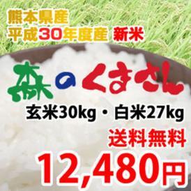 森のくまさん 30年産新米 熊本県産  玄米30kg 白米27kg 送料無料