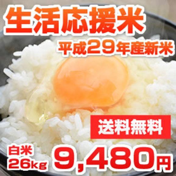 安くて安心・安全 熊本県産生活応援米 平成29年産新米 26kg [訳あり]01