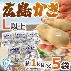 """【送料無料】""""広島産 むき牡蠣"""" 大粒Lサイズ以上 約1kg×《5袋》(合計5kg)加熱用/生/冷凍剥きカキ/牡蛎"""