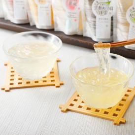 全国の特産品と富士山のミネラル豊富な天然水で作られたくずきりのような食感が楽しい新しいタイプのジュレ