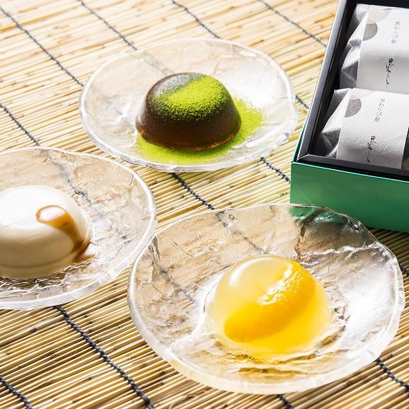 水菓子ギフト「蓮(れん)」豆乳ぷりんと黒わらび餅、煎茶ぜりー6個詰合せ01