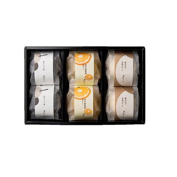 水菓子ギフト「蓮(れん)」豆乳ぷりんと黒わらび餅、煎茶ぜりー6個詰合せ02