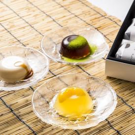 水菓子ギフト「澪(みお)」豆乳ぷりんと黒わらび餅、煎茶ぜりー12個詰合せ