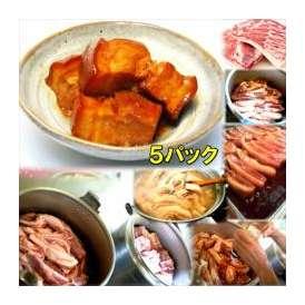 豚の角煮 5パック 敬老の日 惣菜 お惣菜 おかず お試し セット 冷凍 無添加 お弁当