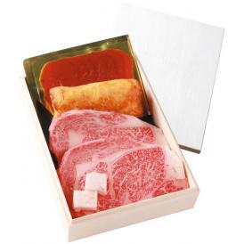 神戸牛ギフトセットB (ステーキ2枚 木箱入りセット)風呂敷包
