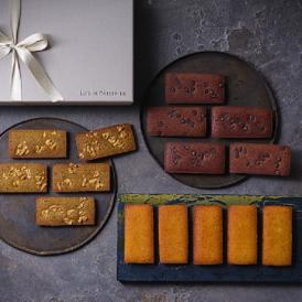 本商品は、プレーン、ショコラ、ほうじ茶の3種類のフィナンシェを楽しめるセットです。