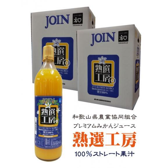 和歌山農協 ジョイン 熟選工房 和歌山県産温州みかん100%ストレート果汁ジュース 900ml  お得な12本(6入×2箱)01