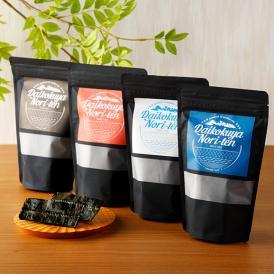 味付け海苔、しお味、ブラックペッパー味、明太子味の4種類を詰め合わせたギフトボックス。