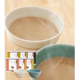 汁碗 ペア(はれわたる白磁・しずまりの青磁) みそポタ6袋セット