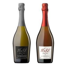 """1688 グラン・ロゼ&グラン・ブラン """"ノンアルコール""""紅白2本セット(専用箱付)"""
