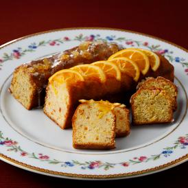 オレンジ風味とアールグレイ風味のレモンティー、シェフ手作りの2種類のパウンドケーキセットです。