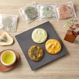 狭山茶と3種類の煎餅セット。モダンなパッケージは、外国人ゲストにも喜ばれるはず。
