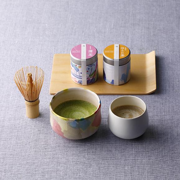 オリジナル有機抹茶有機ほうじ茶 茶筅・風呂敷セット01
