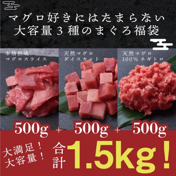 【送料無料】【合計1.5kg】天然マグロ 福袋 豪華3種セット 500g3パック まぐろたたき まぐろ 赤身 熟成 刺身02