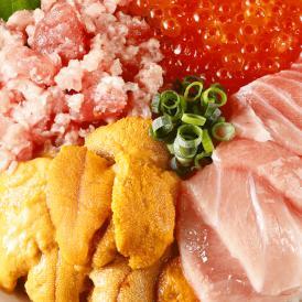 【海鮮3色丼+ネギトロおまけ】本マグロ 大トロ 切落し・うに・いくら +ねぎとろ