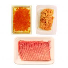 豪華三色海鮮丼!本まぐろ大トロ15g×15枚 いくら70g ばふんうに80g(ブランチ) 鮪 まぐろ マグロうに ウニ 雲丹 いくら イクラ 海鮮丼
