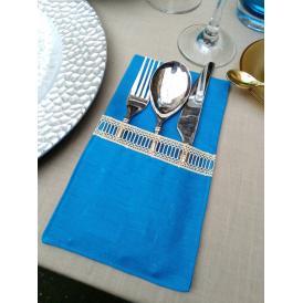 Curtlery Pocket Line Lace Turkish Blue カトラリーポケットラインレース ターキッシュブルー