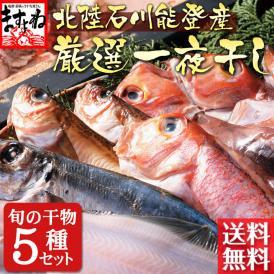 【石川県能登産】無添加 一夜干し干物セット 旬の魚5種(※季節の旬の魚を詰め合わせにする為、魚種は選べません)【送料無料/魚介/干物/干物セット/ますよね】