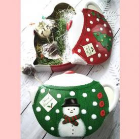 【8本セット】おすすめポップケーキ+シルバークレイン缶(クリスマスティーポット緑スノーマン)入り