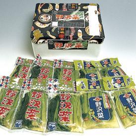 「野沢菜浅漬 4袋 スチロール箱入り」 野沢菜醤油漬×2袋、野沢菜わさび風味×2袋