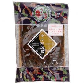 野沢菜を刻み、絞って唐辛子を混ぜました。ラーメンやパスタのトッピングに最適!
