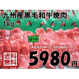 【送料無料】九州産黒毛和牛焼肉 1kg◎モモorカルビー選べる◎