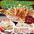 [送料無料]大阪王将 肉餃子50個入+高菜チャーハン5袋セット(ぎょうざ/ギョウザ/炒飯/冷凍/中華/弁当/惣菜)
