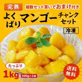 [送料無料]よくばり冷凍 完熟マンゴーセット 1kg(500g×2袋)