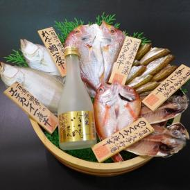 【送料無料】ノドグロ入りセット  純米吟醸「豊の秋」金ラベル(300ml)&一夜干しセット (配送先が北海道、沖縄県の場合は送料がかかります)