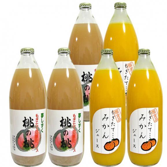 フルーツジュース ギフト 1L×6本詰め合わせ みかんオレンジ・もも桃ピーチジュース01