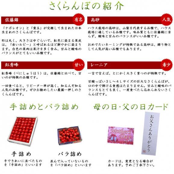 母の日 プレゼント フルーツ さくらんぼ 佐藤錦・高砂 L 250g03