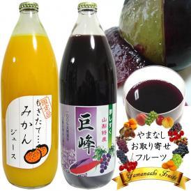 お中元フルーツ ストレート ジュース ギフト 内祝 1L×2本詰め合わせ ぶどう巨峰・みかんオレンジジュース