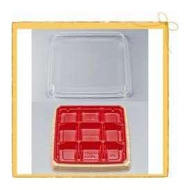 使い捨て 弁当容器 BFハカマ膳 9-2 杉板赤 セット 50枚