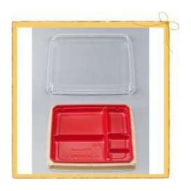 【シーピー化成】 BFハカマ膳7-1杉板赤セット (50枚)【使い捨て/定番/和柄/華やか/和風/弁当箱/弁当容器/ 電子レンジ/業務用】