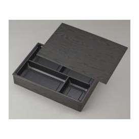 【高級弁当】ワン折重 90×60黒焼杉/J-4黒底/共蓋 (100セット) 【高級折箱/弁当容器/四仕切/使い捨て】