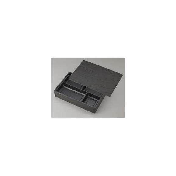 【高級弁当】ワン折重 90×60黒焼杉/J-4黒底/共蓋 (100セット) 【高級折箱/弁当容器/四仕切/使い捨て】01