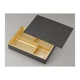 【高級弁当】ワン折重 90×60黒焼杉/J-4金底/共蓋 (100セット) 【高級折箱/弁当容器/四仕切/使い捨て】