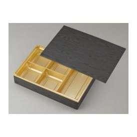 【高級弁当】ワン折重 90×60黒焼杉/J-5金底/共蓋 (100セット) 【高級折箱/弁当容器/五仕切/使い捨て】