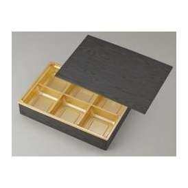 【高級弁当】ワン折重 90×60黒焼杉/J-6金底/共蓋 (100セット) 【高級折箱/弁当容器/六仕切/ 使い捨て】