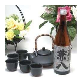 黒千代香セット5客ツル付(四ッ谷酒造 はだか麦を100%の麦焼酎 兼八 720ml(大分県))焼酎ギフト