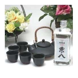 黒千代香セット5客ツル付(四ツ谷酒造  麦焼酎 原酒 兼八 42度 720ml)焼酎ギフト