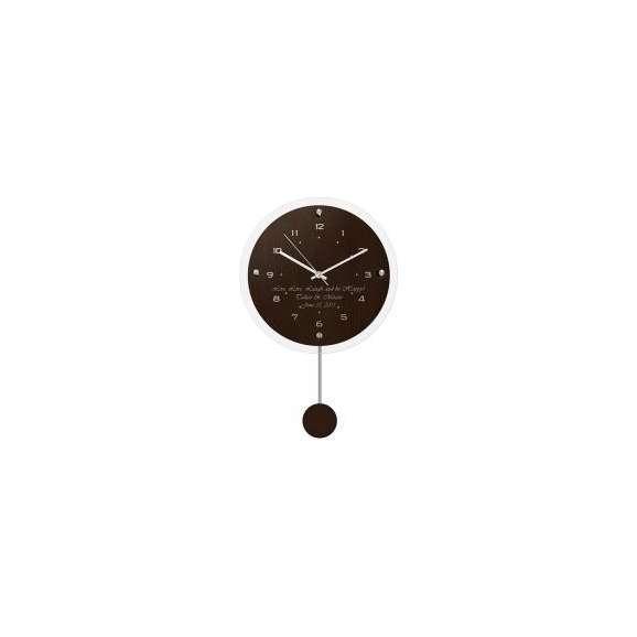 【送料無料】【名入れ】ペンデュラムクロック アンティール ブラウン (電波時計) レリーフクロック