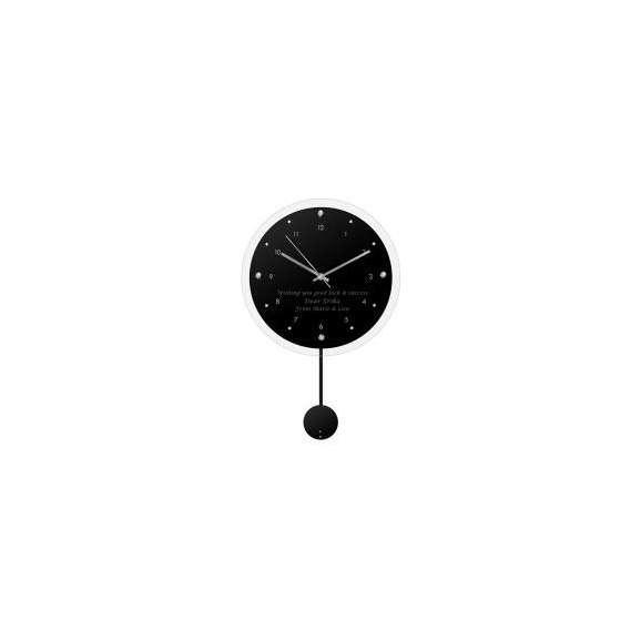 【送料無料】【名入れ】ペンデュラムクロック アンティール ブラック (電波時計) レリーフクロック