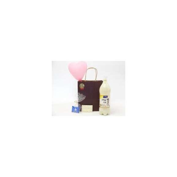贈り物マッコリセット(ソウル月梅マッコリ 1000ml(韓国))メッセージカード ハート風船 ミニチョコ付き01